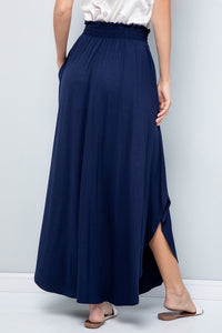 Solid Navy Jersey Maxi Skirt