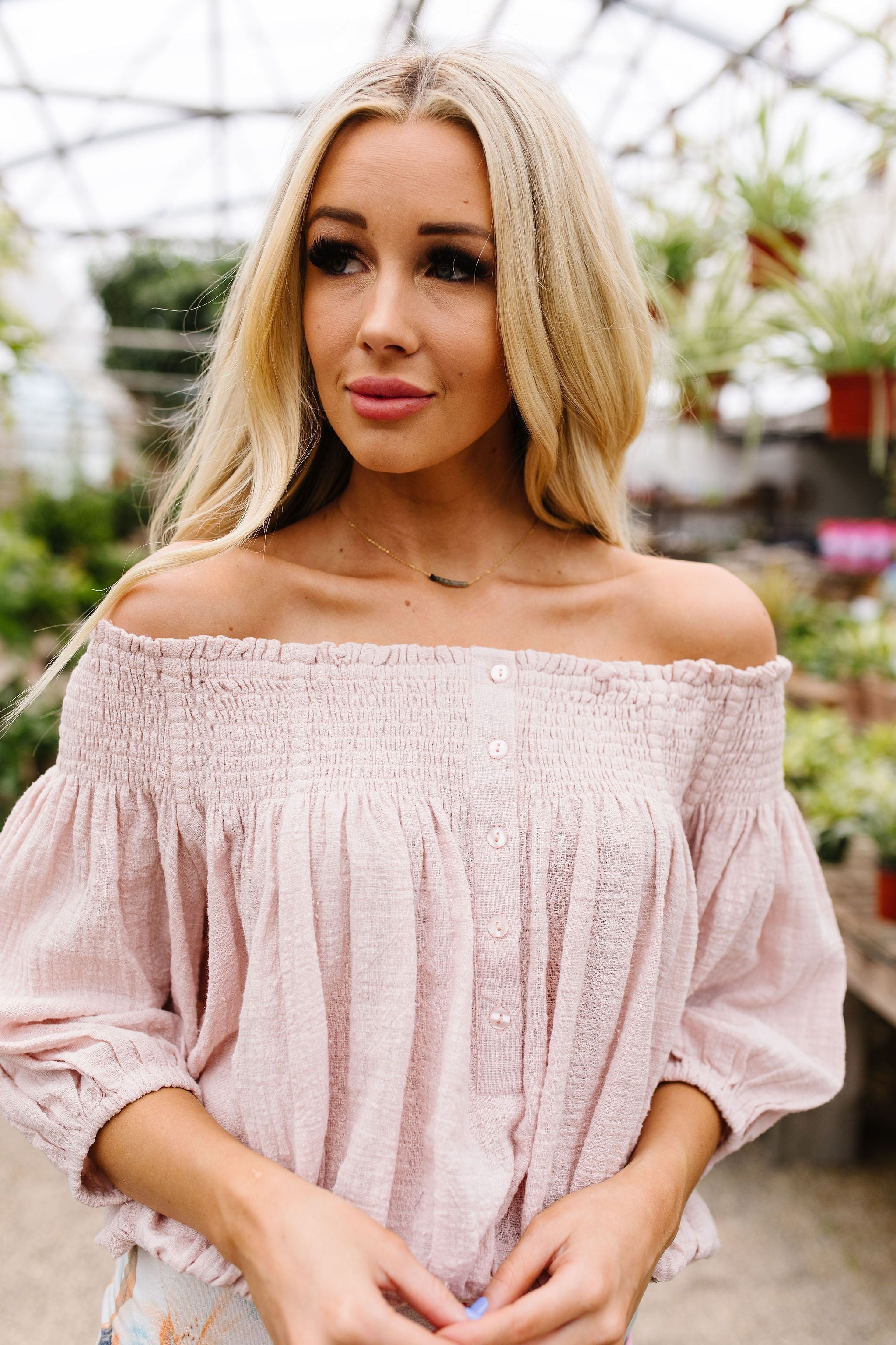 Just Add Sun Off Shoulder Top In Blush