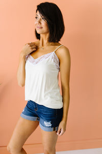 Lace Trimmed Knit Cami In Ivory