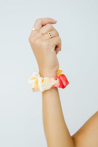 Life Saver Velvet Scrunchie In Red