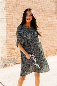 Mini Spots Ruffle Sleeve Dress