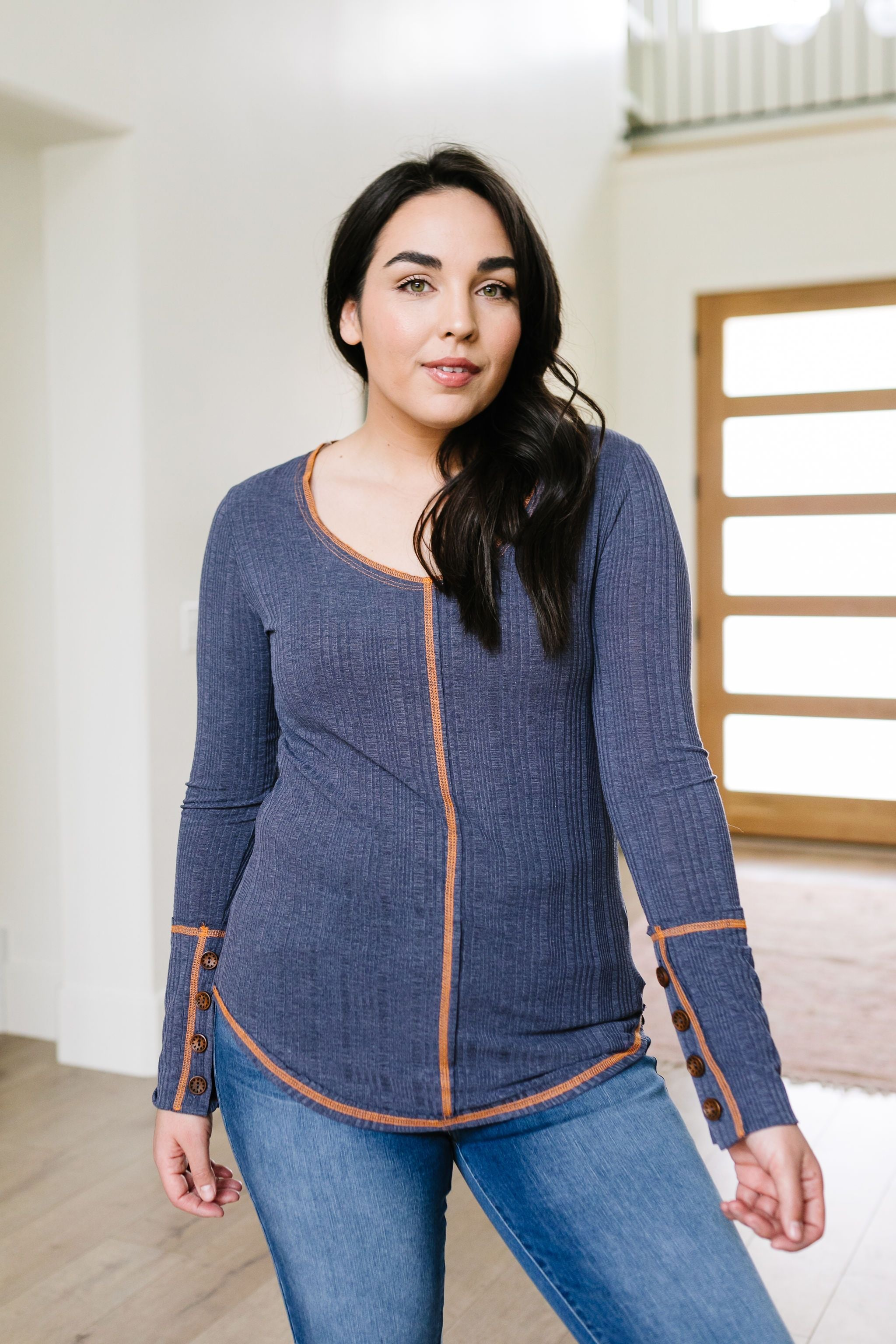 On The Edge Of Spring Top In Slate Blue