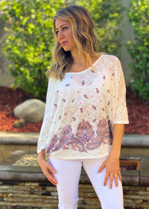 Delicate paisley knit top