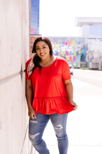 Ruffled Peplum Top In Red