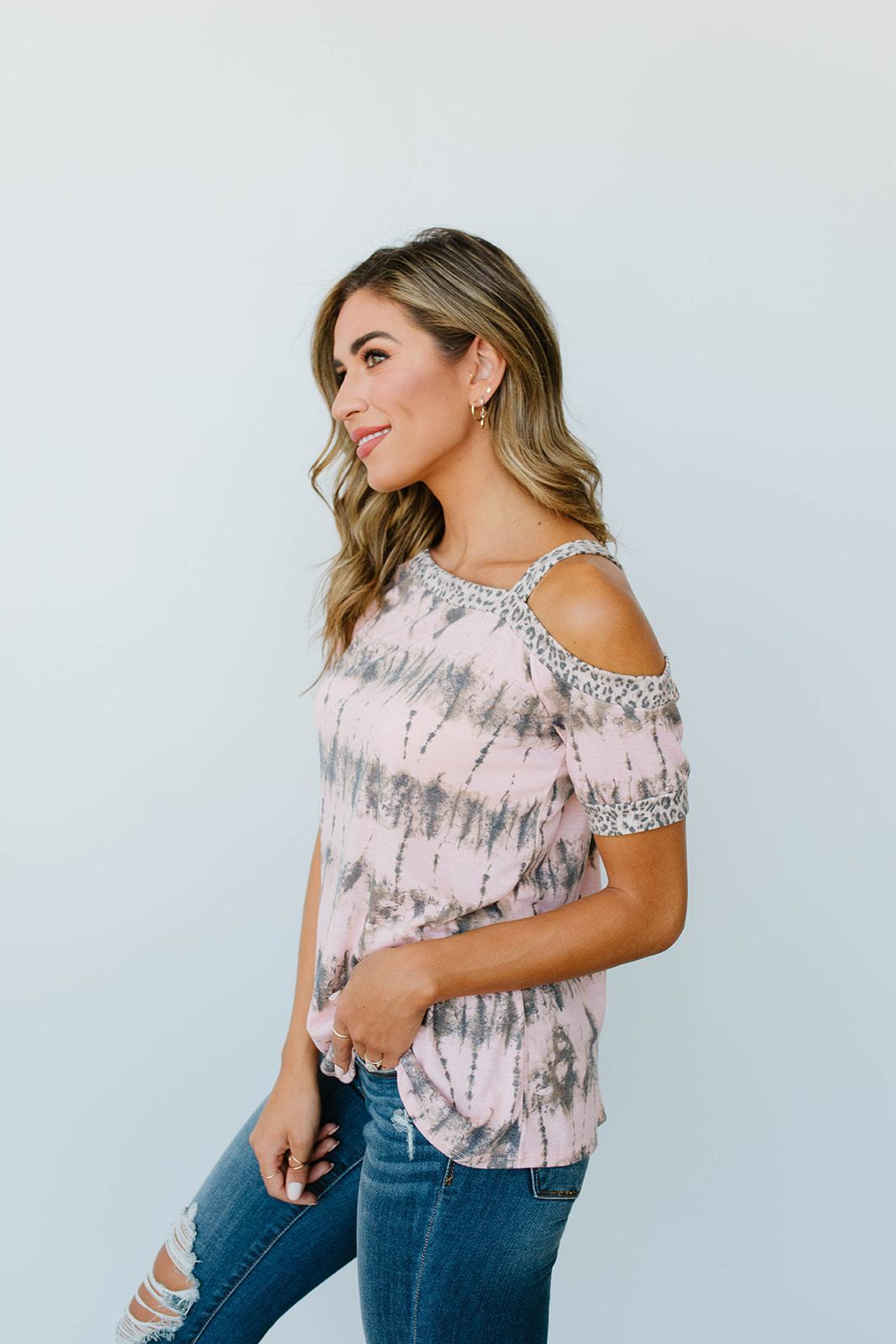 Shania Cold Shoulder Top In Blush