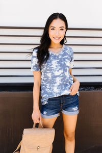 Tessa Tie Dye Top In Navy