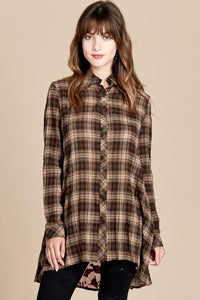 Double Take Cotton Flannel Tunic