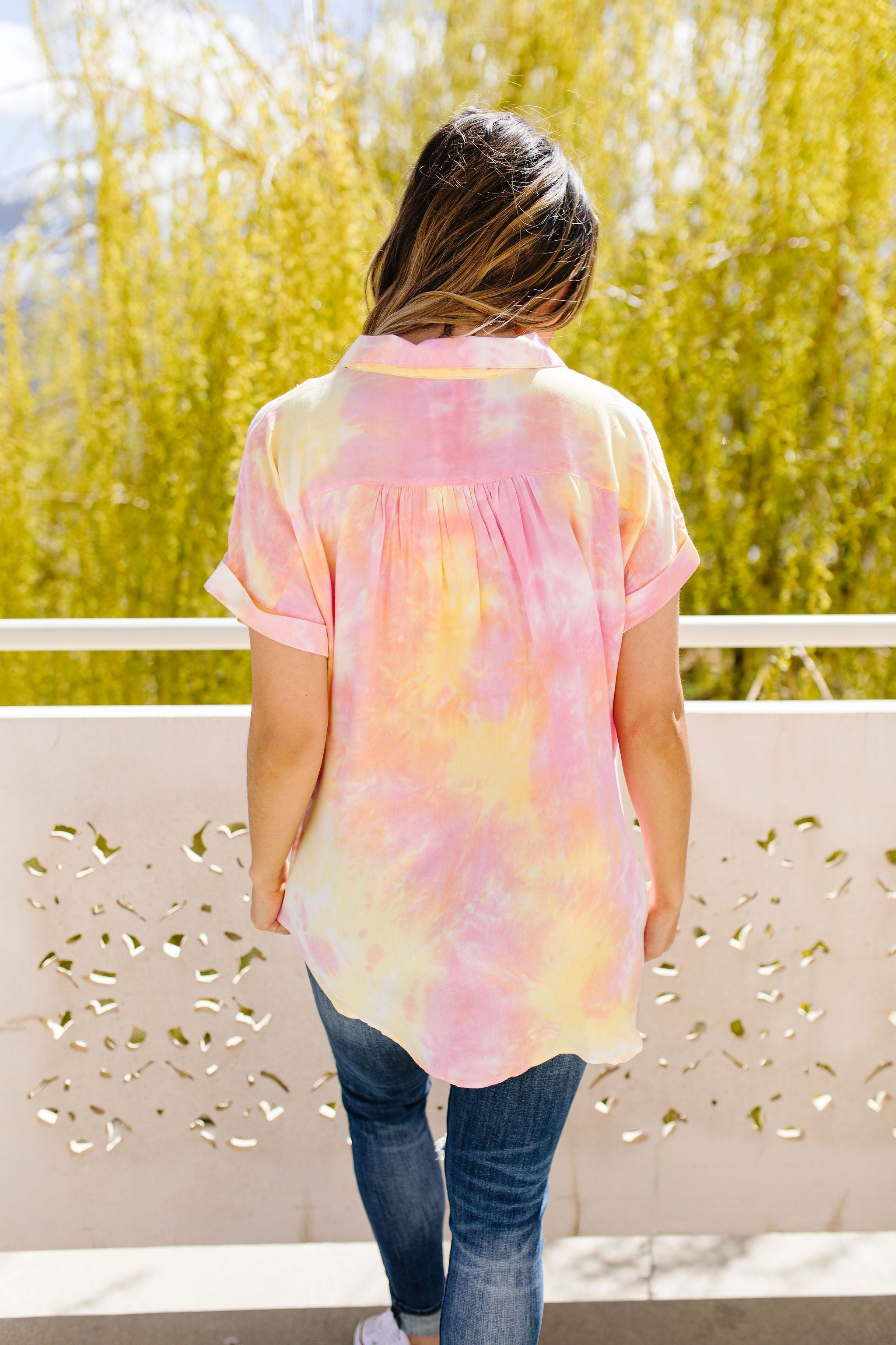Tie & Tie Dye Top In Sunset