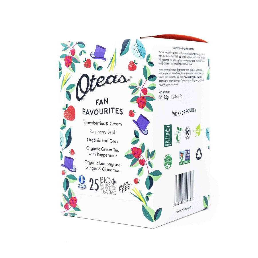 Try Oteas Fan Favourites with Strawberries and cream, Raspberry Leaf, Organic Earl Grey, Organic Green Tea with Peppermint and Organic Lemongrass, Ginger and Cinnamon