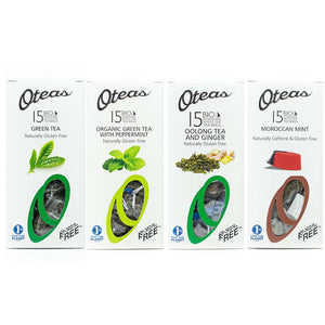 Oteas bundle pack with Green Tea, Organic Green Tea with peppermint, Oolong Tea with Ginger and Moroccan Mint