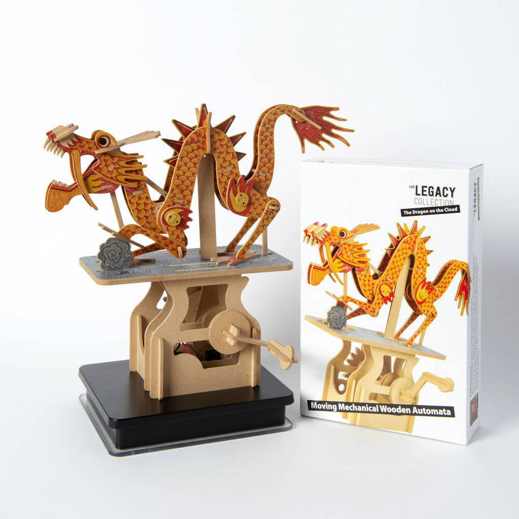 The dragon on the cloud, Wooden automata - Go Model shop