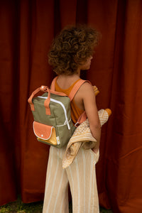 Backpack small wanderer seventies green + faded orange + retro yellow sticky Lemon