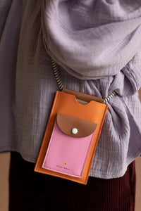 Phone pouch XL carrot orange + syrup brown + bubbly pink-Sticky Lemon