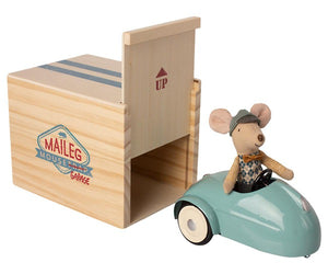 Mouse car with garage blue-Maileg