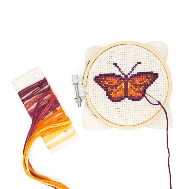 CrossStitch Embroidery Kit, Butterfly - Kikkerland