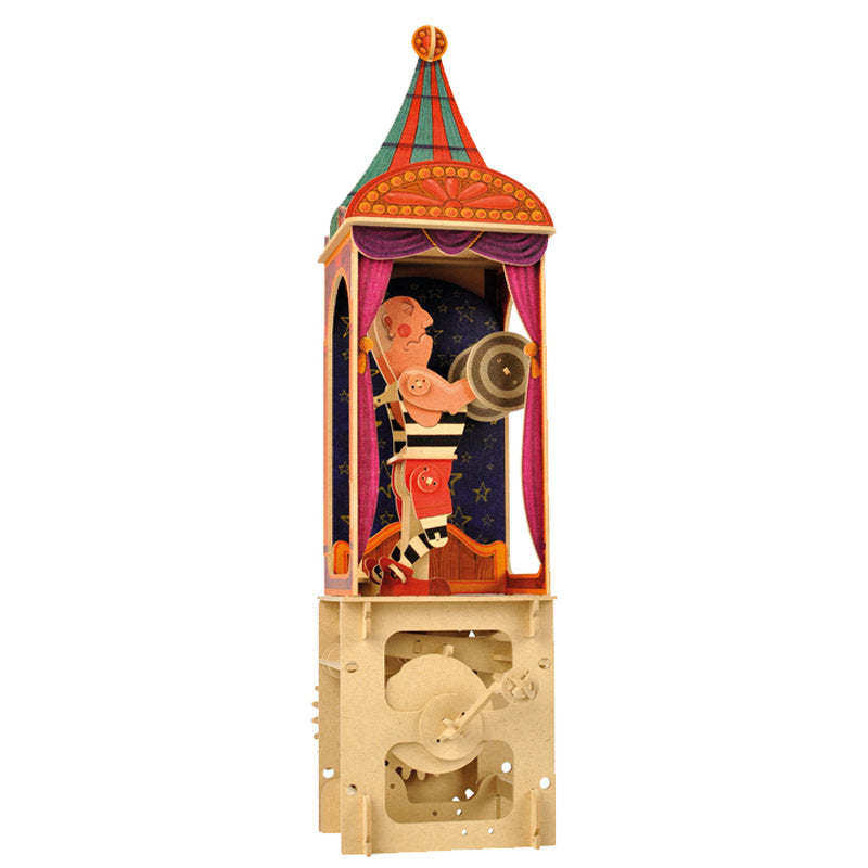 "Circus "" The strong man"", Wooden automata -Go Model shop"