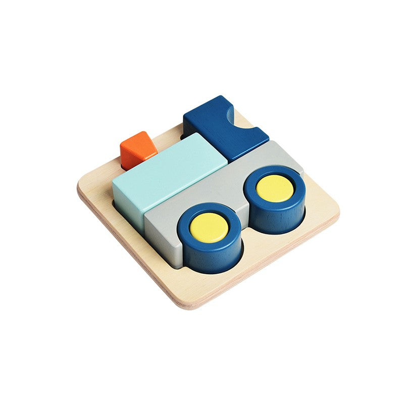 3D Wooden Train Puzzle - Blue ribbon