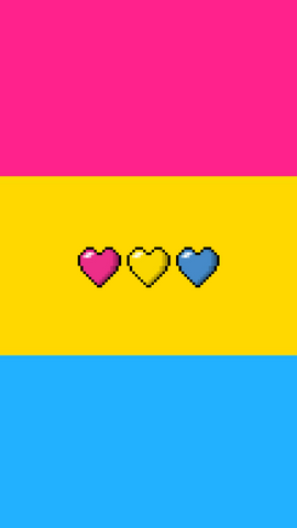 8bit hearts pansexual mobile wallpaper background