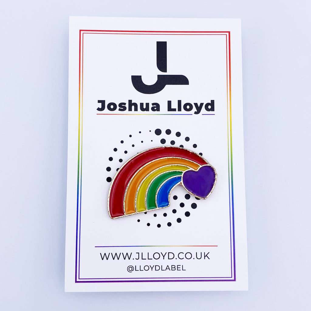 LGBT Gay Pride Pin Badge | Purple Rainbow Heart