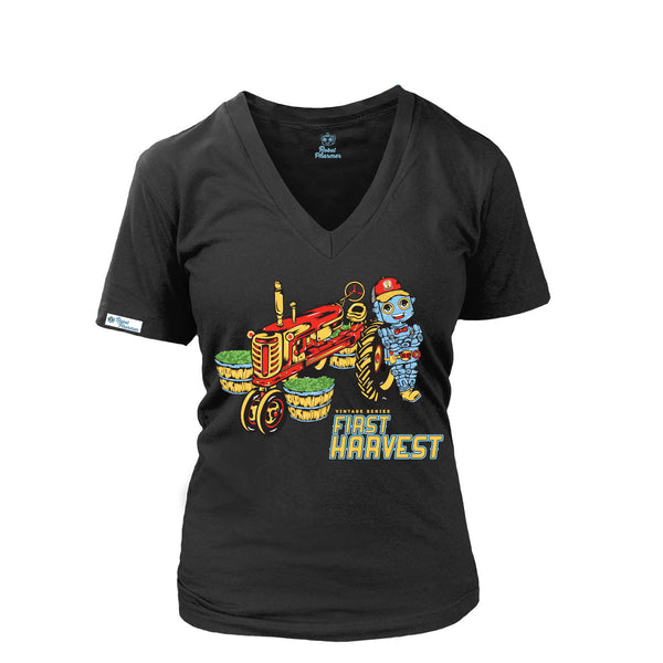 First Harvest Women's V-neck (Black and Red)