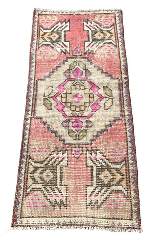 Oushak Mat in Bright Blush and Taupe