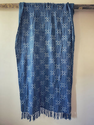 Cross and Dot Indigo Throw