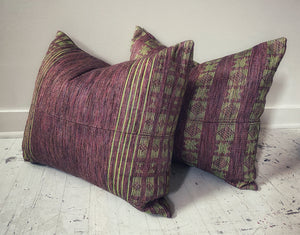 Senegalese Pillow - Deep Red + Chartreuse