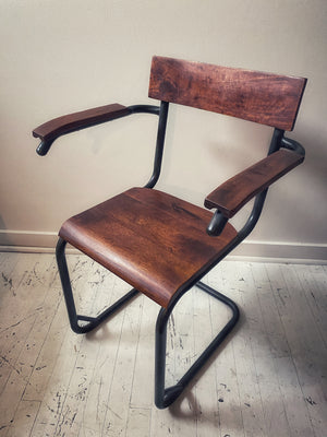 Steel and Mahogany Arm Chairs