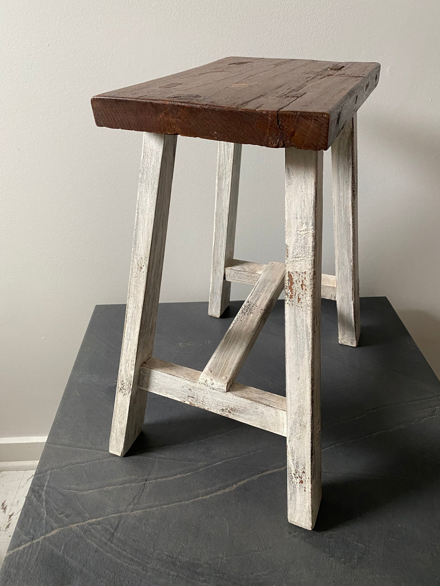 Country Stool with White Legs