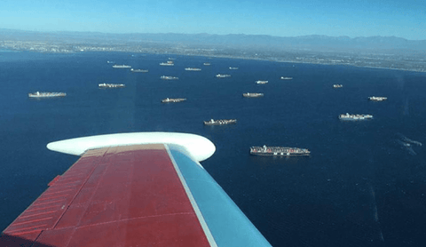 Container ships at anchor