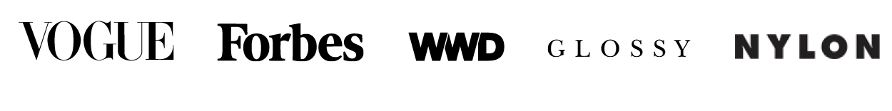 Vogue, Forbes, WWD, Glossy and Nylon Logos