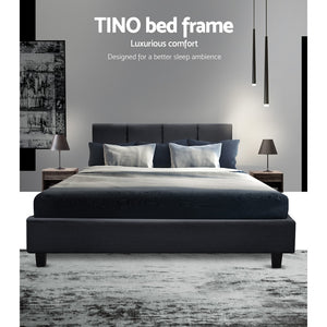 204 X 144cm Artiss TINO Double Size Bed Frame Base Fabric Headboard Wooden Mattress Easy Assembly Bed Charcoal Home Furniture AU