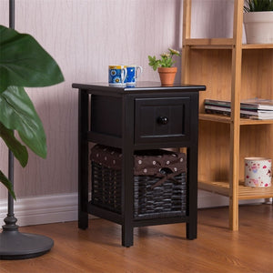 Mini 2 Tier 1 Drawer Wood Nightstand with Basket MDF and Solid Paulownia Wood Nightstand with Withdrawable Storage Box HW55996