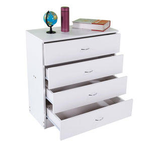MDF Wood Simple 4-Drawer bedroom stands Dresser White/Black Modern nightstand Storage Cabinet Assembly - US Stock