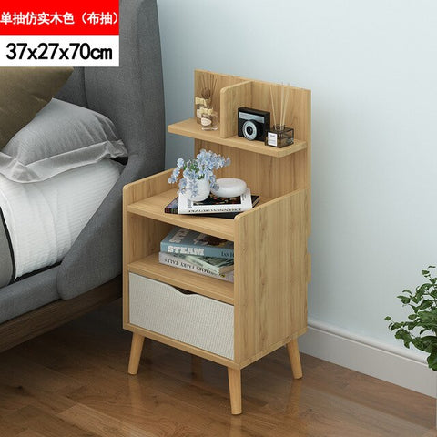 Nordic Simple Modern Bedside Table Shelf 2 Drawers Nordic Cubicle Bedroom Furniture Storage Box Storage Basket Nightstand