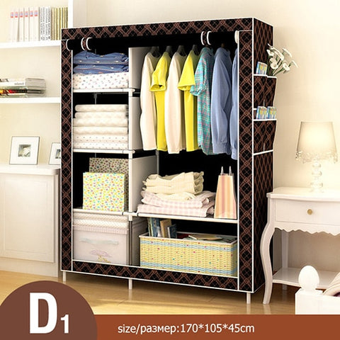 Multi-purpose Non-woven Cloth Wardrobe Fabric Closet Portable Folding Dustproof Waterproof Clothing Storage Cabinet Furniture