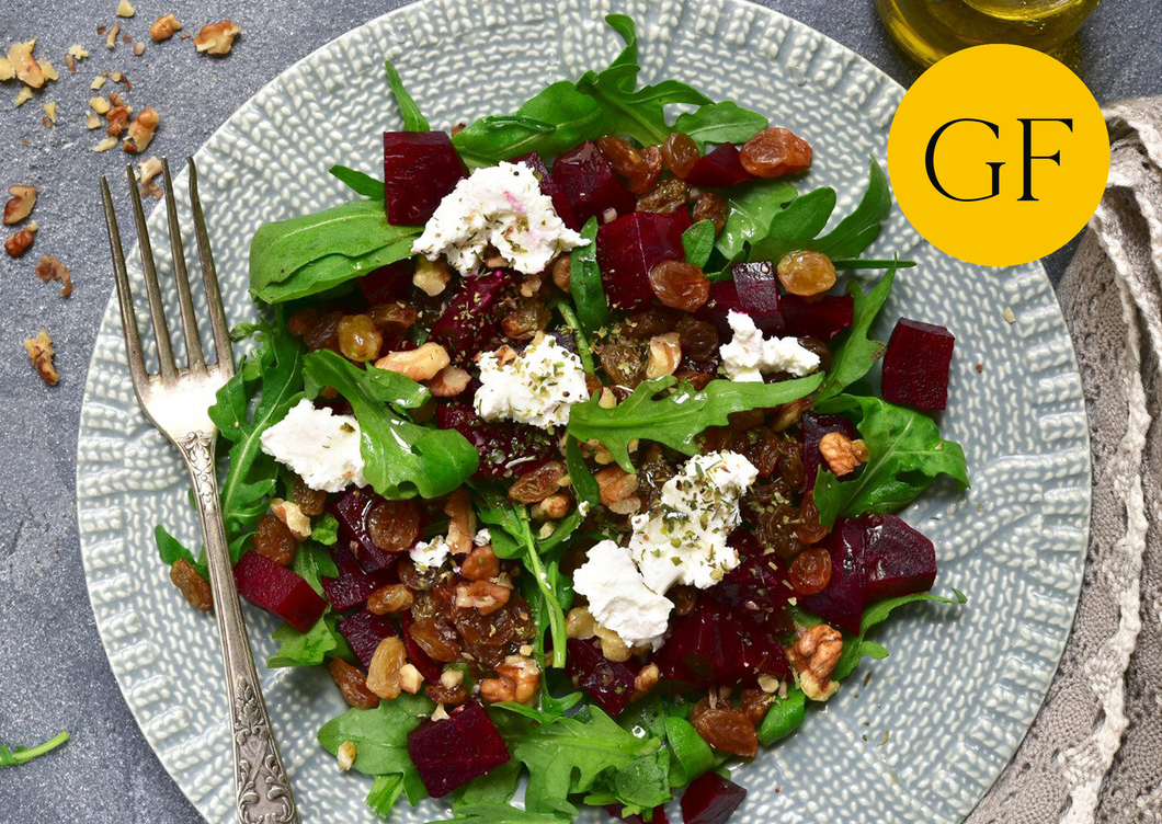 Heritage beetroot salad with walnuts & goats cheese