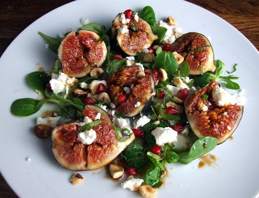 Fig & Feta salad with pomegranate & organic apple balsamic