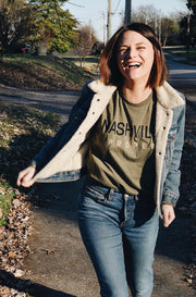 Nashville Proper Long Sleeve Tee- Military Green (4542611980333)