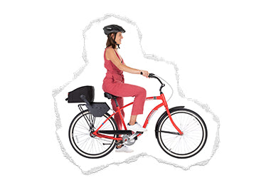 Mother riding bicycle with bike seat adaptor and igloo accessory
