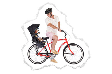 Dad riding bicycle with bike seat adaptor double kit second seat