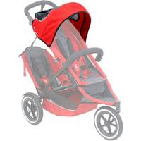 phil&teds sport sunhood in red on sport buggy ghosted 3qtr view_red