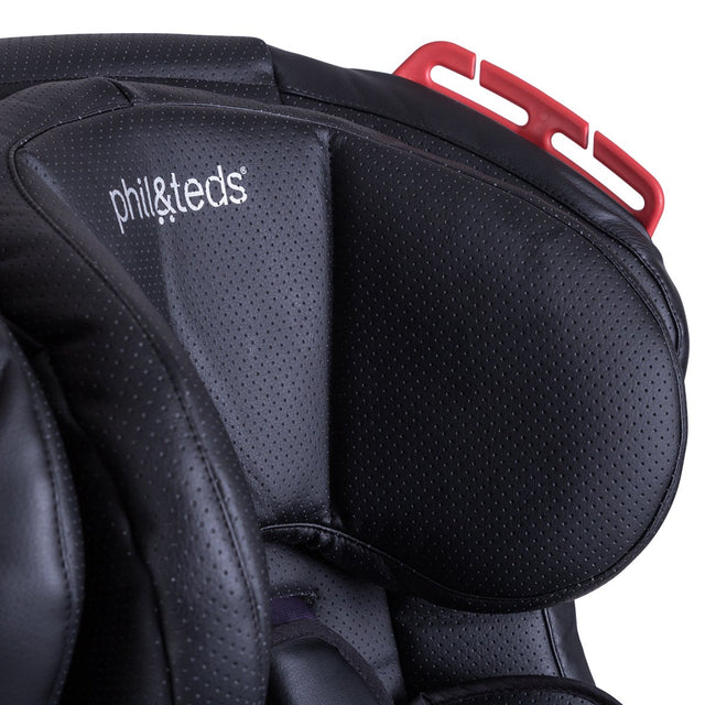 phil&teds discovery car seat close up of breathable leather fabric_black