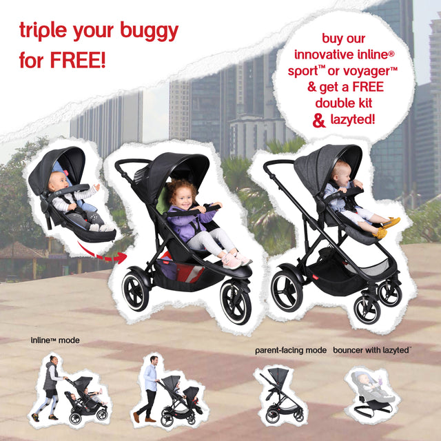 triple your buggy for free with sport or vaygaer and get a free double kit and lazyted bouncer