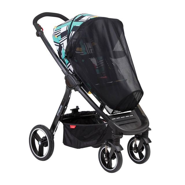 phil&teds mod stroller in abstract fitted with sun mesh cover 3/4 view_default
