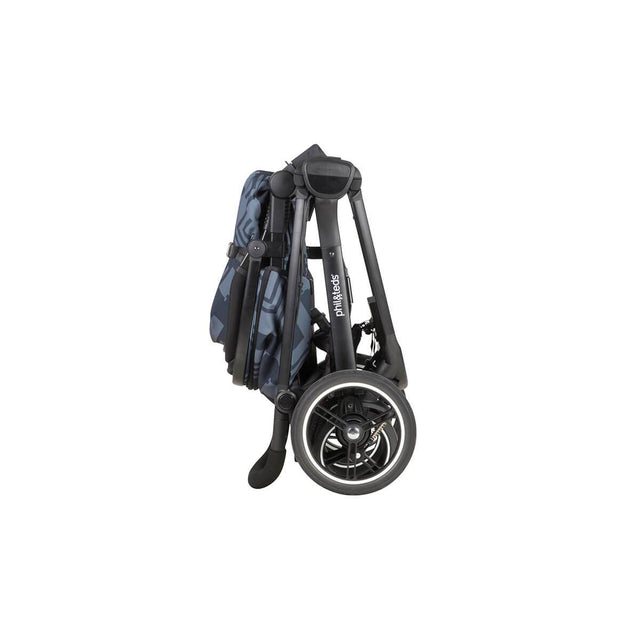 phil&teds mod stroller in noir colour compactly folded side view_noir