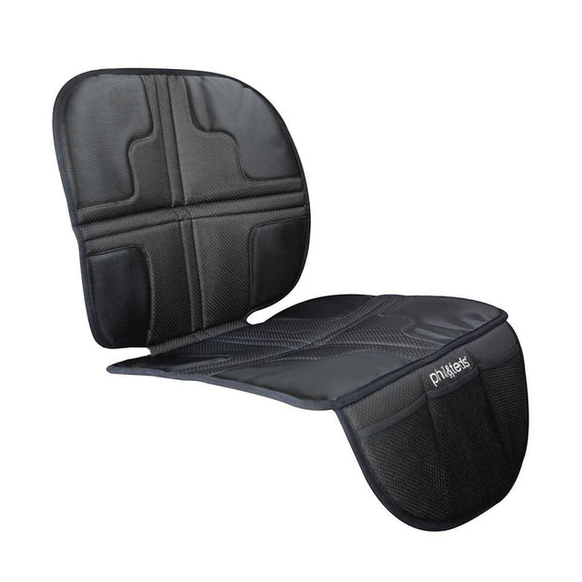 phil&teds® vehicle seat mate™ shown on white background to demonstrate in car positioning and access to three storage pockets_black