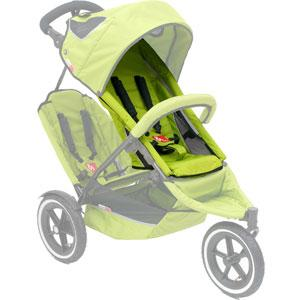 phil&teds sport v2 replacement seat in apple green on sport buggy ghosted 3qtr view_apple green