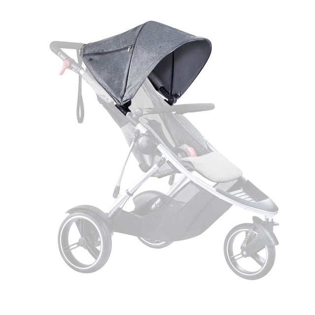 phil&teds dash 2015-2019 sunhood in grey marl on dash buggy in grey marl 3 qtr view_charcoal marl