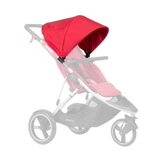 phil&teds dash 2015-2019 sunhood in black on dash buggy in red 3 qtr view_red